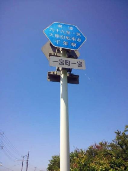 九十九里一宮大原自転車道の標識