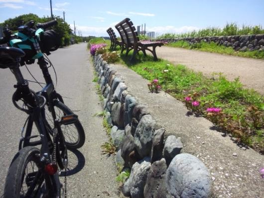 川沿いのベンチ シルヴァF6F 402長生茂原自転車道線