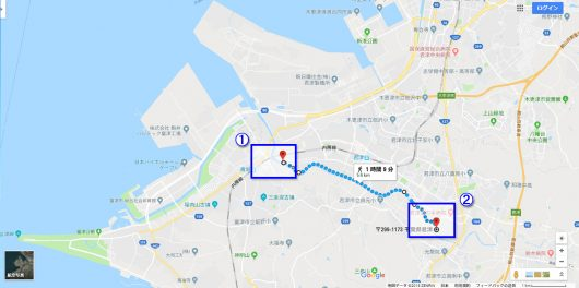 富津・君津・木更津エリア(Googleマップ)