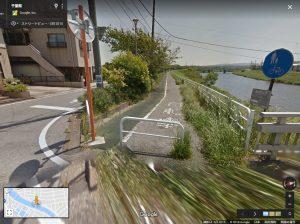小糸川沿岸歩行者専用道、下流地点(Googleマップ)