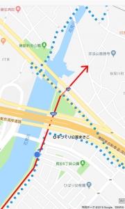花見川サイクリングコース 真砂大橋、国道357号、東関東自動車道 アンダーパス 手づくり公園まさごの手前(Google マップ 05)