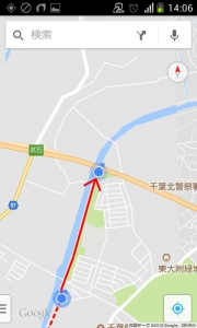 花見川サイクリングコース 浪花橋分岐点→京葉道路アンダーパス(Googleマップ 08)
