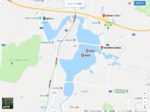 高滝湖(Googleマップ)