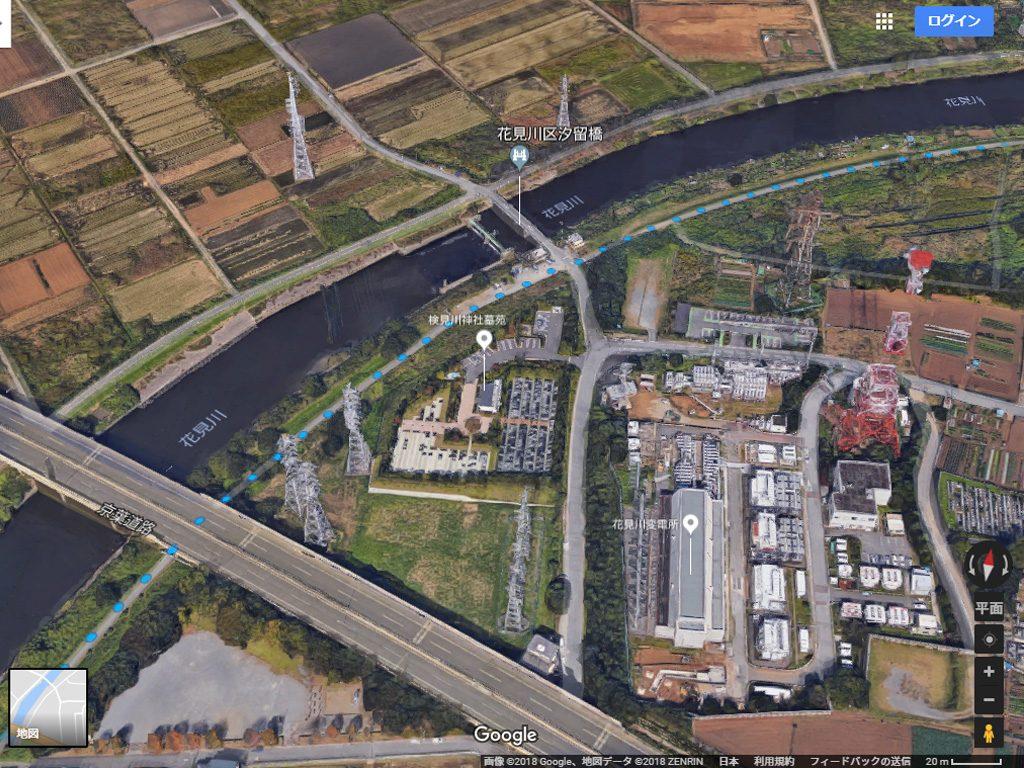 花見川サイクリングコース 京葉道路、汐留橋付近(Google Earth)
