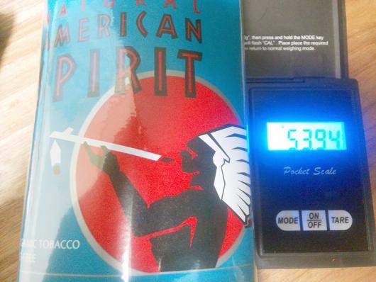 加湿後の重さ:53,94g(アメリカンスピリット・オーガニックブレンド ターコイズ)