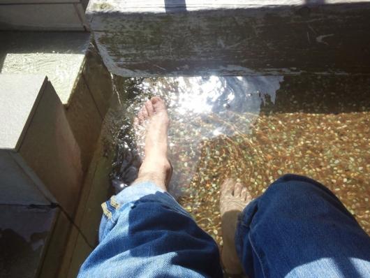 道の駅「鄙の里」:足湯でくつろぐ