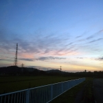 早朝RIDE:朝焼けの道と鉄塔