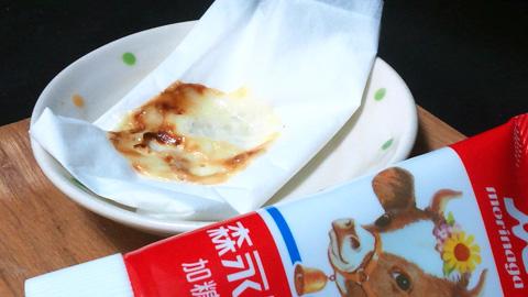 レンジで加熱したコンデンスミルク