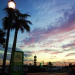 駐輪場から見た夕日