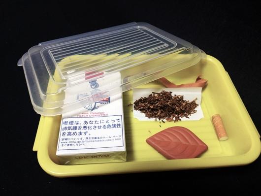 紙巻版アークロイヤル:解したタバコ葉をヒュミストーンで加湿