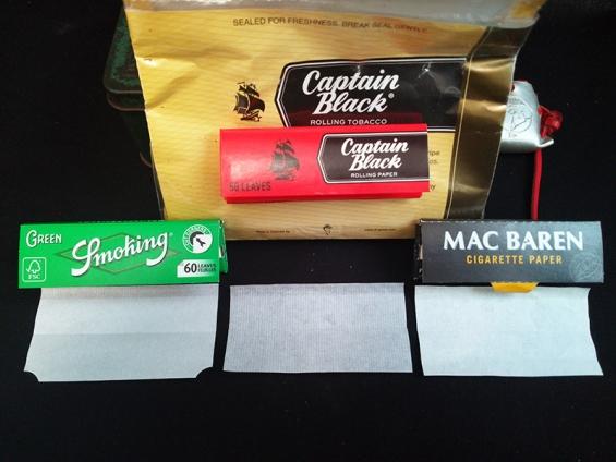 ペーパーの比較(1):スモーキング・グリーン、キャプテンブラック付属ペーパー、マックバレン付属ペーパー