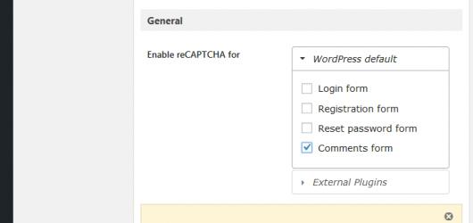 WordPressプラグイン:グーグル・reCAPTCHA、Enable for 設定