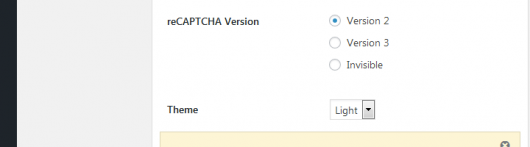 WordPressプラグイン:グーグル・reCAPTCHA、Version 設定